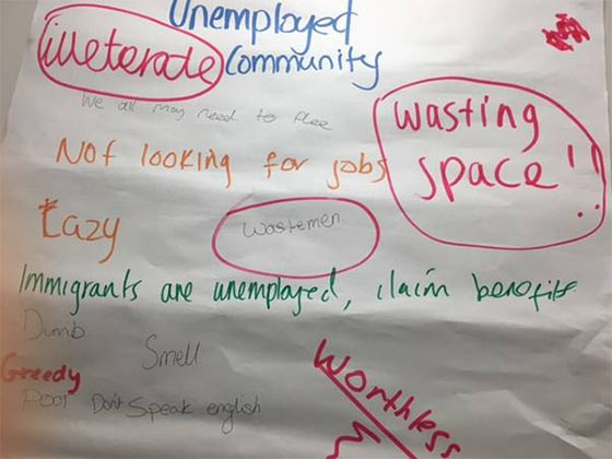 Young people reflecting on myths about different communities