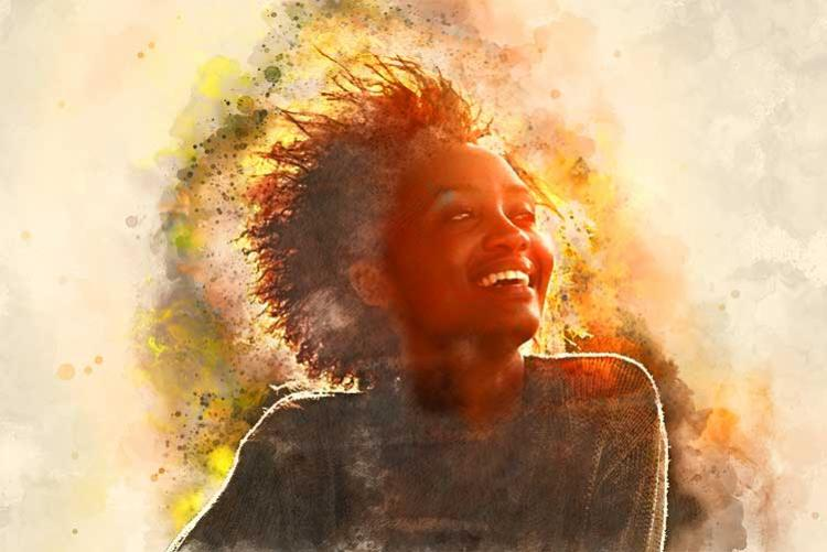 Smiling woman bathed in sunlight