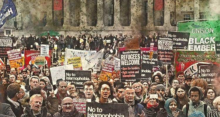 People protesting Islamophobia