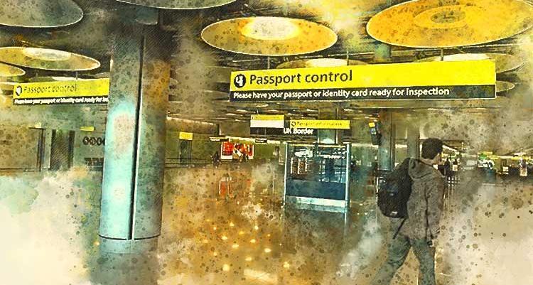 Man walking towards passport control in airport
