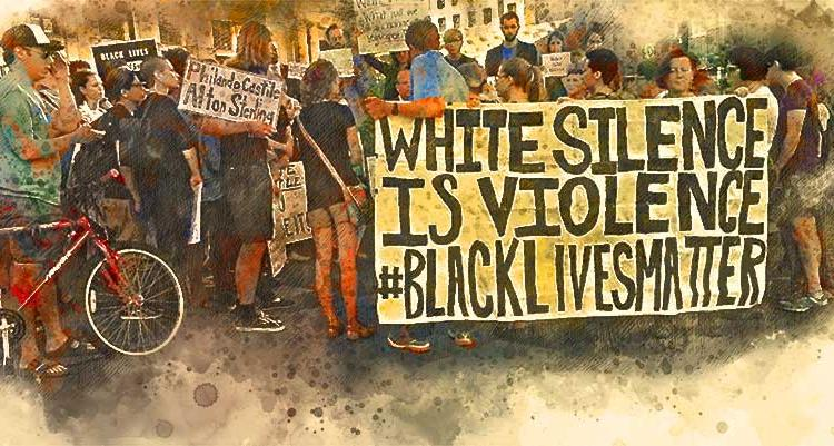 Protesters holding White silence is violence sign