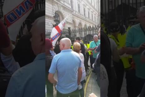 Scenes from the right wing demo in defence of extremist Tommy Robinson pic credit: You Tube