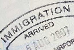Immigration stamp close up