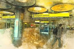 Man walking towards passport control in airport
